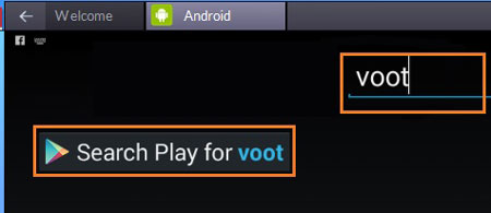 Search Voot App on Pc