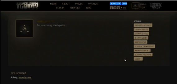 Profile in EFT Game Battle Game Launcher