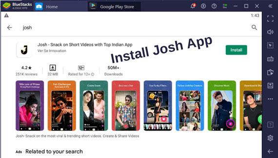 Install Josh App on Windows 10 Pc