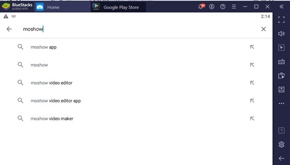 Search for MoShow App in Bluestacks App Player