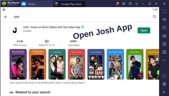 Open Josh App Using Bluestacks Emulator