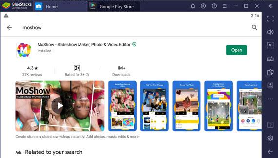 Open MoShow app on Windows Pc